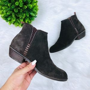 [Franco Sarto]Brown Suede Braided trim Ankle Boots